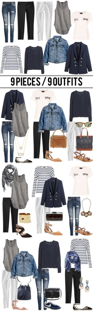 9pieces9outfits | I have similar pieces to most of the ones she suggests and wouldn't necessarily think to put them together the way she has. Such a great idea! | lookingjoligood.wordpress.com