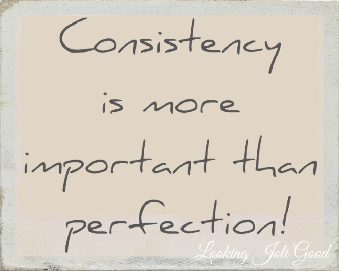 Consistency is more important than perfection! | lookingjoligood.wordpress.com
