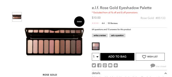 e.l.f. Rose Gold Eyeshadow Palette | lookingjoligood.wordpress.com